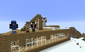 Friends Building Together on Minecraft Towny PVE Server